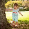 Smocked Pumpkin Mint Gingham Shortall