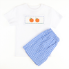 Smocked Pumpkin Blue & White Check Plaid Shirt & Short Set