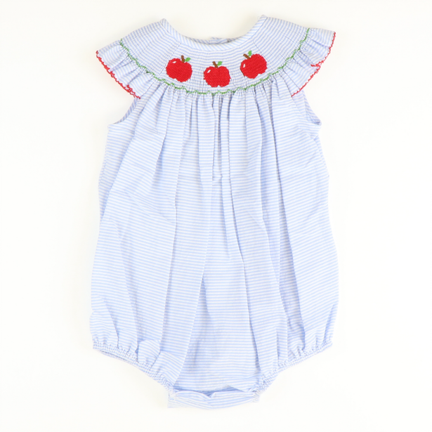 Smocked Apples Girl Bubble - Light Blue Stripe Seersucker - Stellybelly