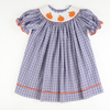 Smocked Pumpkin Blue & Orange Plaid Bishop