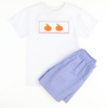 Smocked Pumpkin Blue Micro Gingham Shirt & Short Set