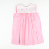 Embroidered Pumpkins Pink Gingham Dress