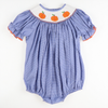 Smocked Pumpkin Blue Micro Gingham Bubble