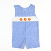 Smocked Pumpkin Blue & White Check Plaid Shortall
