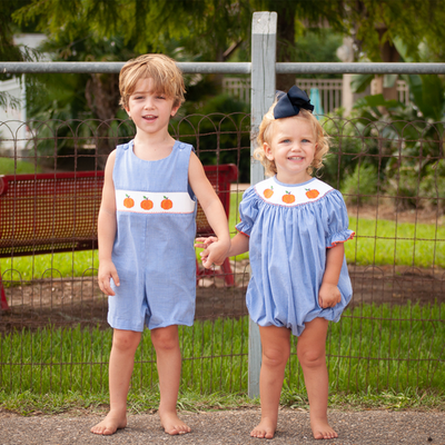Smocked Pumpkin Blue Micro Gingham Shortall