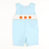Smocked Pumpkin Aqua Gingham Shortall