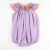 Smocked Pumpkin Lavender Micro Gingham Bubble