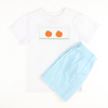 Smocked Pumpkin Aqua GIngham Shirt & Short Set