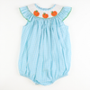 Smocked Pumpkin Aqua Gingham Bubble