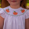 Smocked Pumpkin Lavender Seersucker Bishop