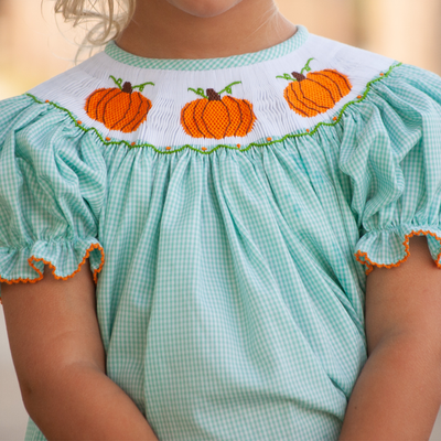 Smocked Pumpkin Mint Gingham Bishop