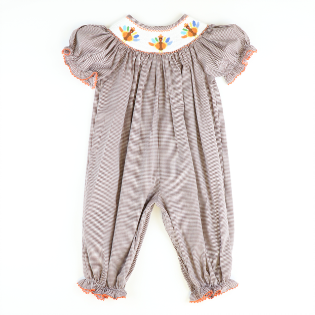 Smocked Turkeys Girl Long Bubble - Brown Gingham