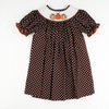 Smocked Pumpkin Brown & White Polka Dot Bishop