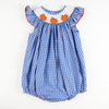 Smocked Pumpkin Blue & White Check Plaid Bubble