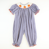 Smocked Pumpkin Blue & Orange Plaid Long Bubble