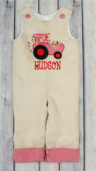 Christmas Tractor Applique Longall w/ Rollup Cuff - Boys - Stellybelly