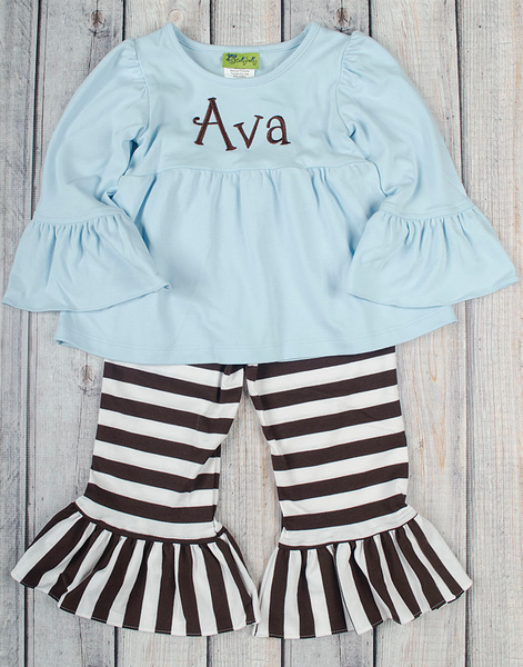 Sky Blue/Brown Stripe Peyton Pant Set - Girls - Stellybelly