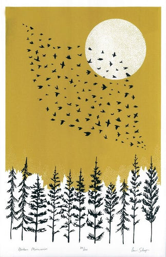Northern Murmuration silk screen print. Hand printed black trees and birds printed over a gold background.