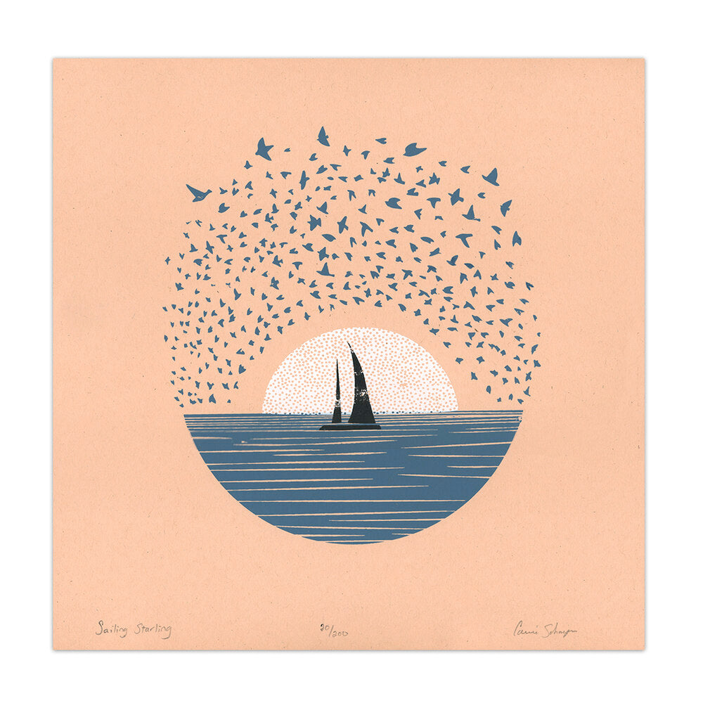 Sailing Starling | Silk Screen Print | 12x12