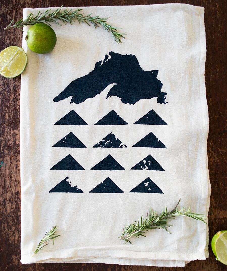 Lake Superior Geo | Natural Cotton Tea Towel