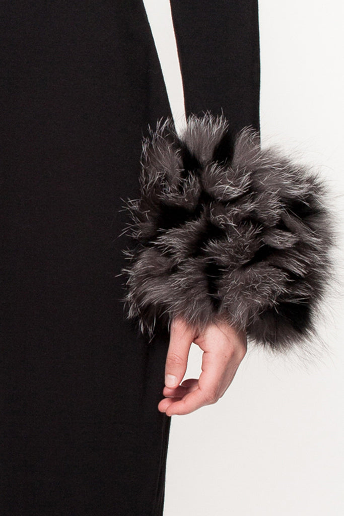 01 - Black & Grey Designer Fur cuffs