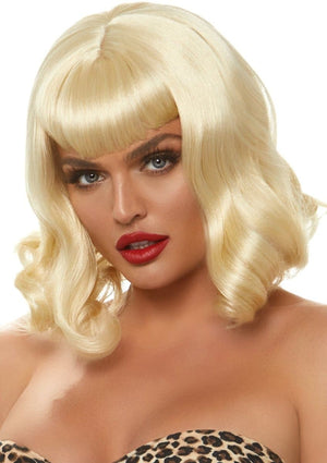 Blonde Retro Bang Curly Bob Wig - PartyExperts