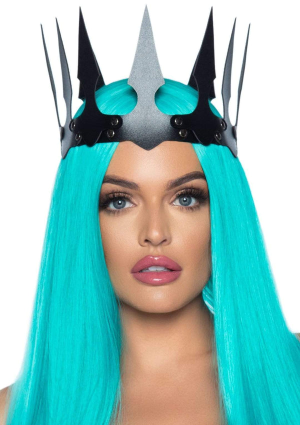 Faux Leather Spiked Crown - PartyExperts