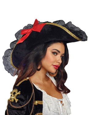 Pirate Hat With Red Ribbon - PartyExperts