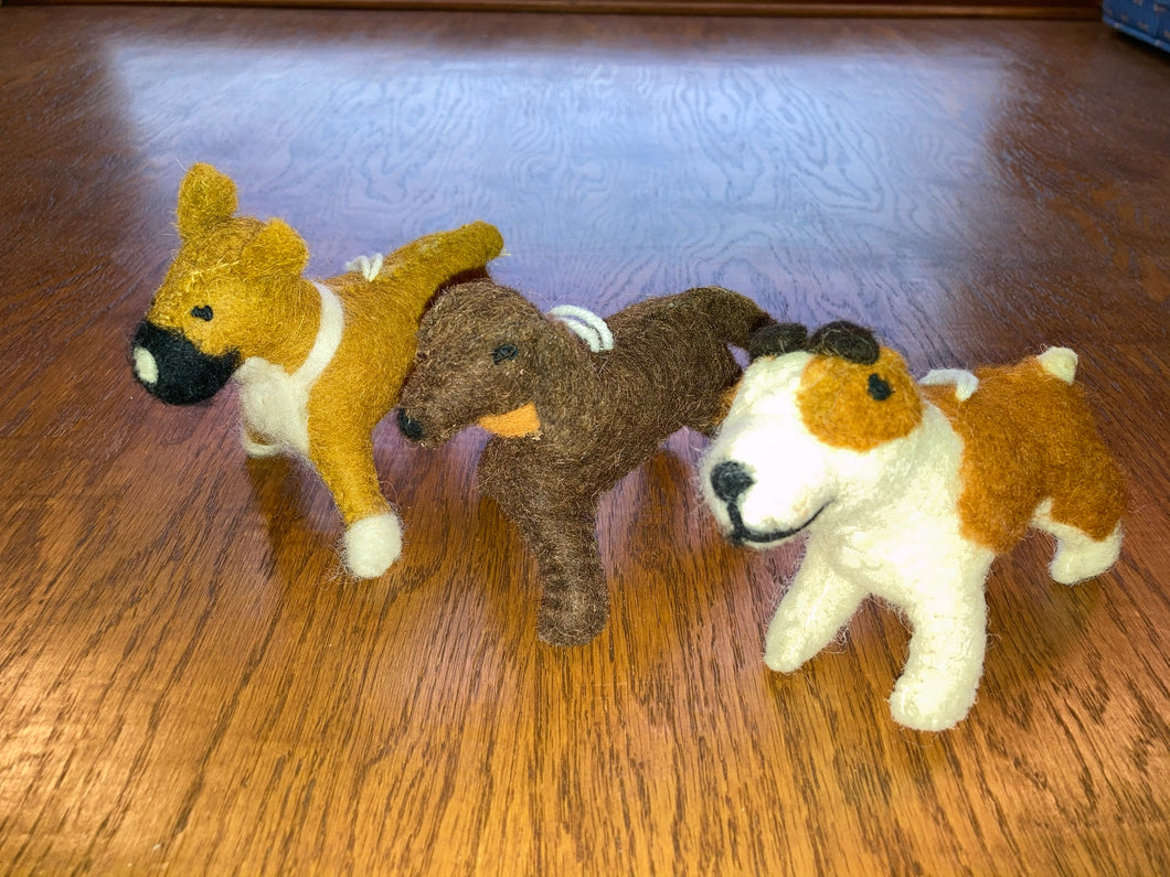 Two's Company Woolen Dog Ornament / Gift Topper