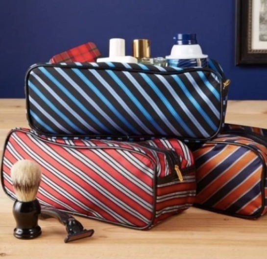 Two's Company repp tie toiletry bag