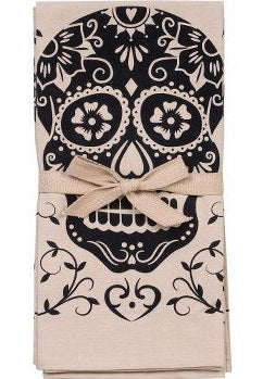 Paper Source Tan & Black Sugar Skull Tea Towels