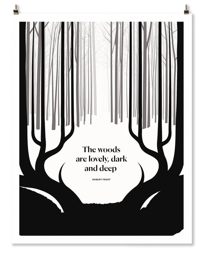 Robert Frost Illustration, Stopping by Woods on a Snowy Evening, Obvious State, Robert Frost Quote
