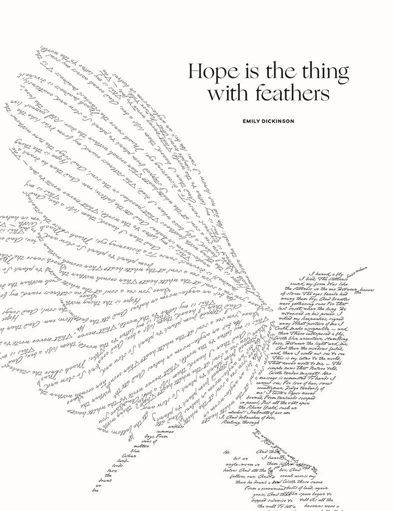 Emily Dickinson Hope is the thing with feathers Illustration, Obvious State Art Print