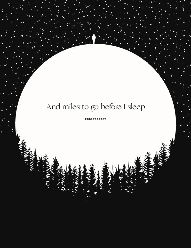 Robert Frost Miles to Go Illustration, Obvious State Art Print