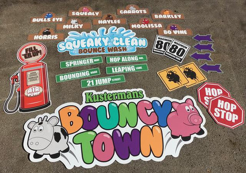 BYOB- Bouncy Town- Signage Package (On printed Vinyl)