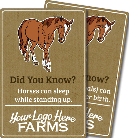 Farm Animal Trivia Signs - Horse