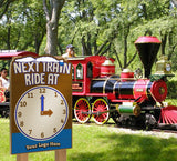 'Next Ride At:' Clock Sign