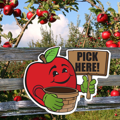 Directional Character Signs- set of 8 small apples