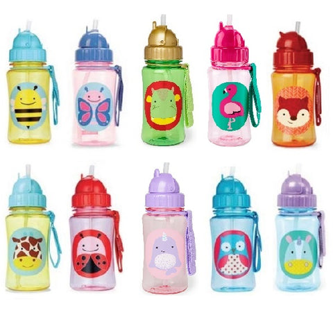 SKIP HOP - ZOO STRAW BOTTLE - 350 ML (Available in 10 Designs)