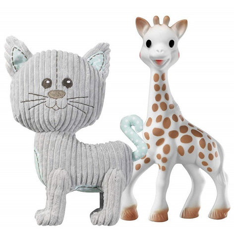 Sophie la girafe® - Set Lazare the Cat Stuffed Toy + Sophie la Girafe (cotton bag)