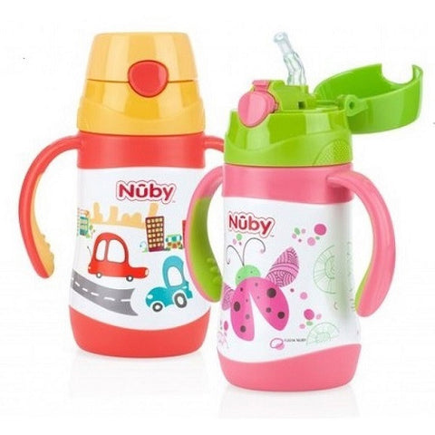 Nuby Stainless Steel Cups - 280ml Straw