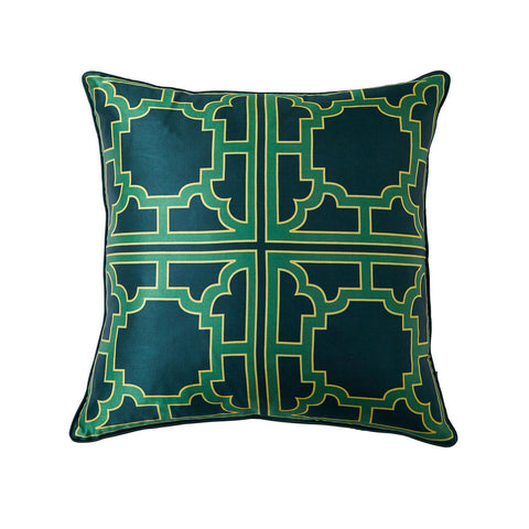 Large MANETTE Green Silk Pillow