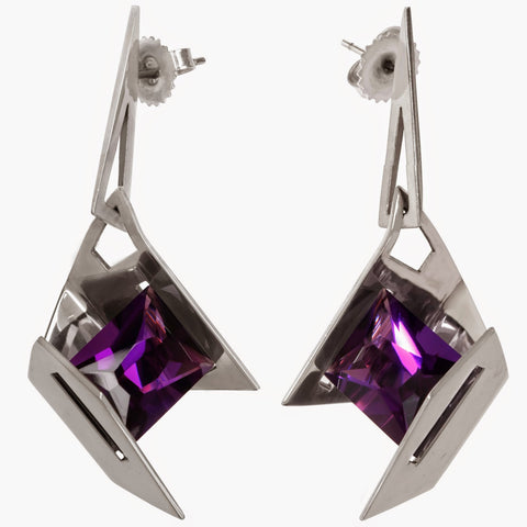 Firework Earrings  | Amethyst | Sterling Silver