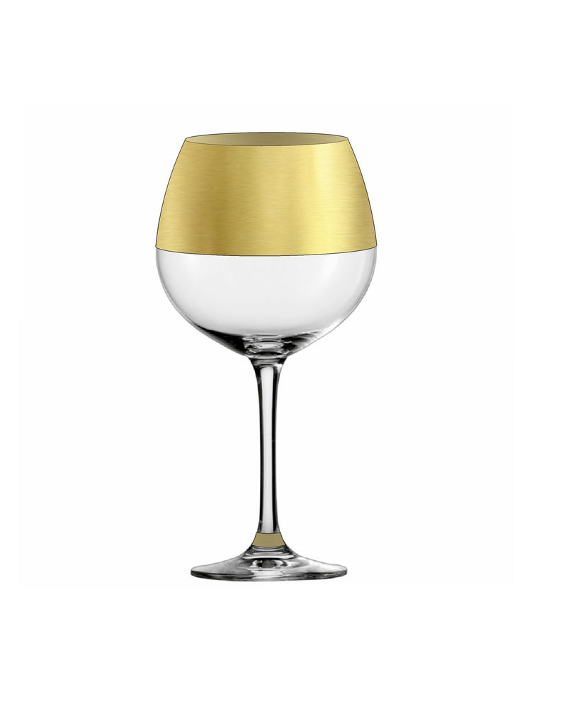 Northern Hemisphere Gold Red Wine Glass