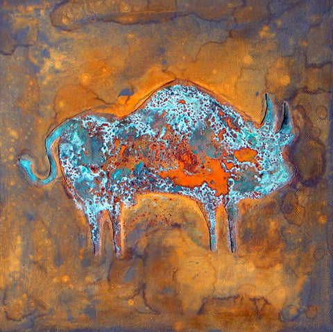"Bulls by Paul Zepeda, Oxidation, rust, patina on canas, 10""x10"""