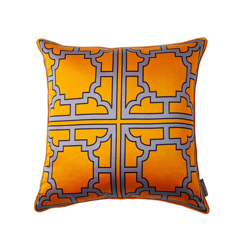Large MANETTE Orange Silk Pillow