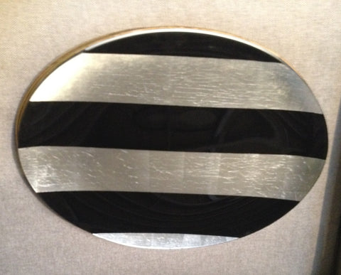 "Black & Silver Stripes Platter 14"" X 19"" Oval"