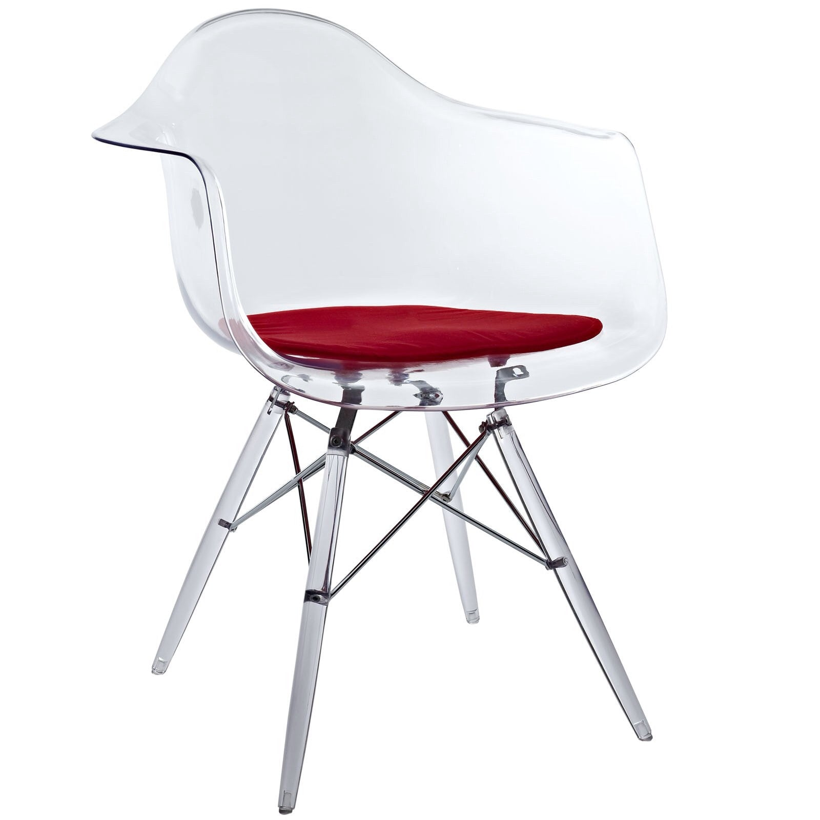 LexMod Paris - Eiffel Arm Chair with Clear Seat and Wooden Legs