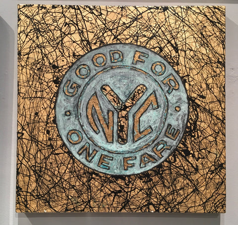 "NYC Subway Token by Paul Zepeda 20"" x 20"""
