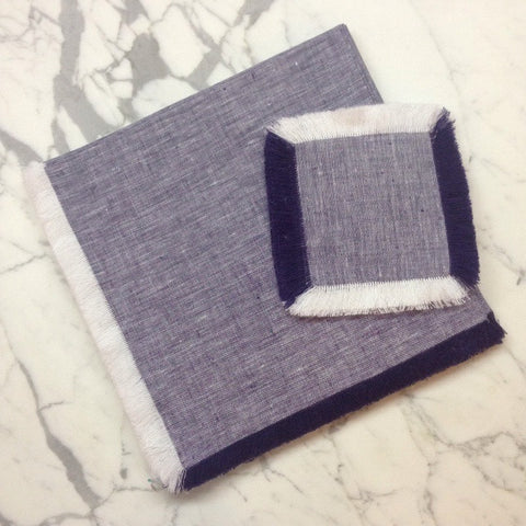 "22"" x 22"" Square Linen Napkin - dark blue"